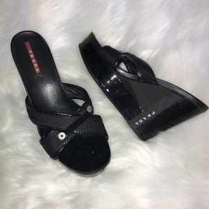 Prada Black Patent Leather Cloth Wedge Sandal 7.5
